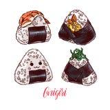 Set of different onigiri. Asian food. Cute set of different onigiri. Hand-drawn illustration Stock Photos