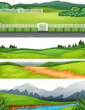 Set of different outdoor scenes. Illustration vector illustration