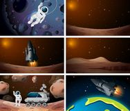 Set of different outer space scenes. Illustration royalty free illustration
