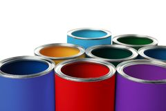 Set of different paint cans. On white background royalty free stock photography