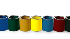 Set of different paint cans. On white background. Space for design stock photos