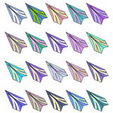 Set of different paper airplanes. Raster Stock Image
