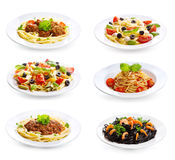 Set with different pasta and spaghetti Stock Images