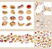 Set with different  pastry. Royalty Free Stock Photography
