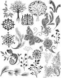Set  different patterns and decorations. Graphic drawings  Sketches. Plants, nature, birds, trees, butterfly, flowers,. Set of different patterns and decorations Royalty Free Stock Image