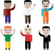 Set of different people, characters in vector. There is a vector set of different male chracters Royalty Free Stock Images