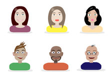 Set of different people characters. Different vector characters. They can be also used as profile pictures Stock Photo