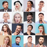 Set of different people evincing various emotions royalty free stock photos