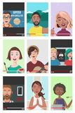 Set Of Different People On Internet Videos royalty free stock photo