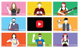 Set Of Different People On Internet Videos Stock Photography