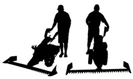 Set of different people with mowers Stock Image