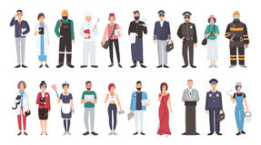 Set of different people profession. flat illustration. Manager, doctor, builder, cook, postman, waiter, pilot, policeman. Photographer fireman veterinarian Royalty Free Stock Photo