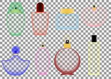A set of different perfume bottles on a transparent background. Vector illustration. royalty free illustration
