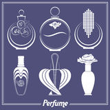 Set of different perfume bottles, vials,  Stock Image
