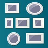 Set of different picture frames and pictures. Royalty Free Stock Image