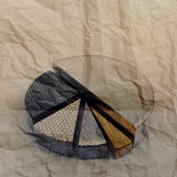 Set of different pie chart. As vintage style concept on crumpled paper Stock Photography