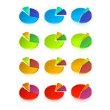 Set of different pie chart Stock Photography