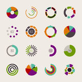 Set of different pie charts. Modern infographics for presentations Royalty Free Stock Photography