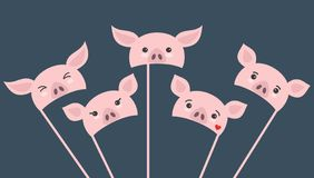 Set of different piece photo booth props with cartoon pigs stock illustration