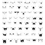 Set of 52 different pieces doddle emotions to create characters Royalty Free Stock Photo
