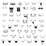 Set of 50 different pieces doddle emotions to create characters. Set of 50 different pieces of doddle emotions to create characters. Emotions for design. Anime Royalty Free Stock Photos