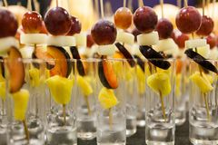 Set of different pieces fresh fruits stock image