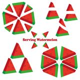 Set of different pieces of watermelon. An example of serving of watermelon. stock illustration