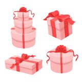 Set of different pink gift boxes with red ribbons. royalty free illustration