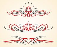 Pinstriping flourish vector ornaments set. A set of 3 different pinstripe floral vector graphic ornaments vector illustration