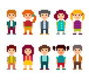 Set of different pixel art 8-bit people characters. Colorful set of pixel art style characters. Men and women standing on white background. Vector illustration Royalty Free Stock Photo