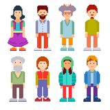 Set of different pixel art characters. Men and women of all ages standing on white background. Vector illustration Royalty Free Stock Images