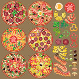 Set of different pizza ingredients. Six types of pizza. Set of pizza and ingredients for making new ones Stock Illustration