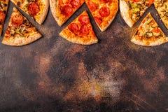 Set of different pizzas stock photos