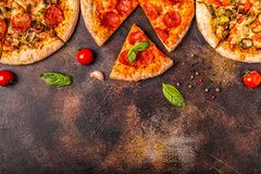 Set of different pizzas royalty free stock photography