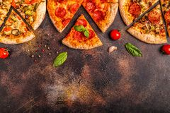 Set of different pizzas royalty free stock image