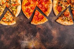 Set of different pizzas royalty free stock images