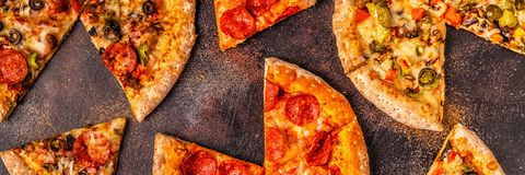 Set of different pizzas royalty free stock photo