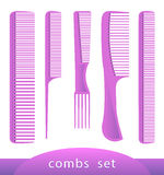 Set of different plastic combs,  on white. Vector illustration. Stock Image