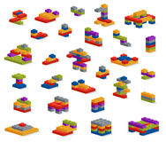Set of different plastic pieces constructor, various constructio Stock Photography