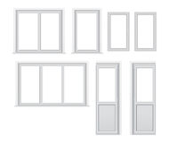 Set of different plastic windows layout options Stock Images