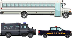 Set of different police cars and prison bus on Stock Photo
