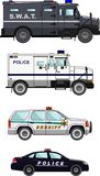 Set of different police cars on white background Stock Images