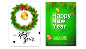 Set of different posters for Happy New Year events. Creative holidays cards with handwriting text. Covers with design of. Text, fir branches. Christmas toys stock illustration