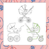 Set of different prams. Vector set of different prams graphic. Template for card Royalty Free Stock Image