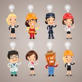 Set Of The Different Profession Characters With Idea Signs Above Royalty Free Stock Photos
