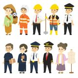 Set of Different Professions Characters Cartoon Vector. In flat style : herbal medicine seller, firefighter, architect, builder, train driver, teacher, security Royalty Free Stock Photo