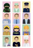 Set of 12 different professions. Vector illustrations in cartoon and flat style. stock illustration