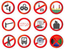 Set of Different  prohibition and attention Royalty Free Stock Images