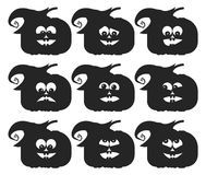 Set of different pumpkin faces on white background.  Royalty Free Stock Photos