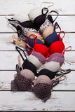 Set of different push up bras. Royalty Free Stock Photos